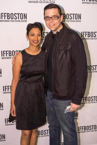 "Directors Gita Pullapilly and Aron Gaudet at the Independent Film Festival Boston on Wednesday night for their film ""Beneath the Harvest Sky."""